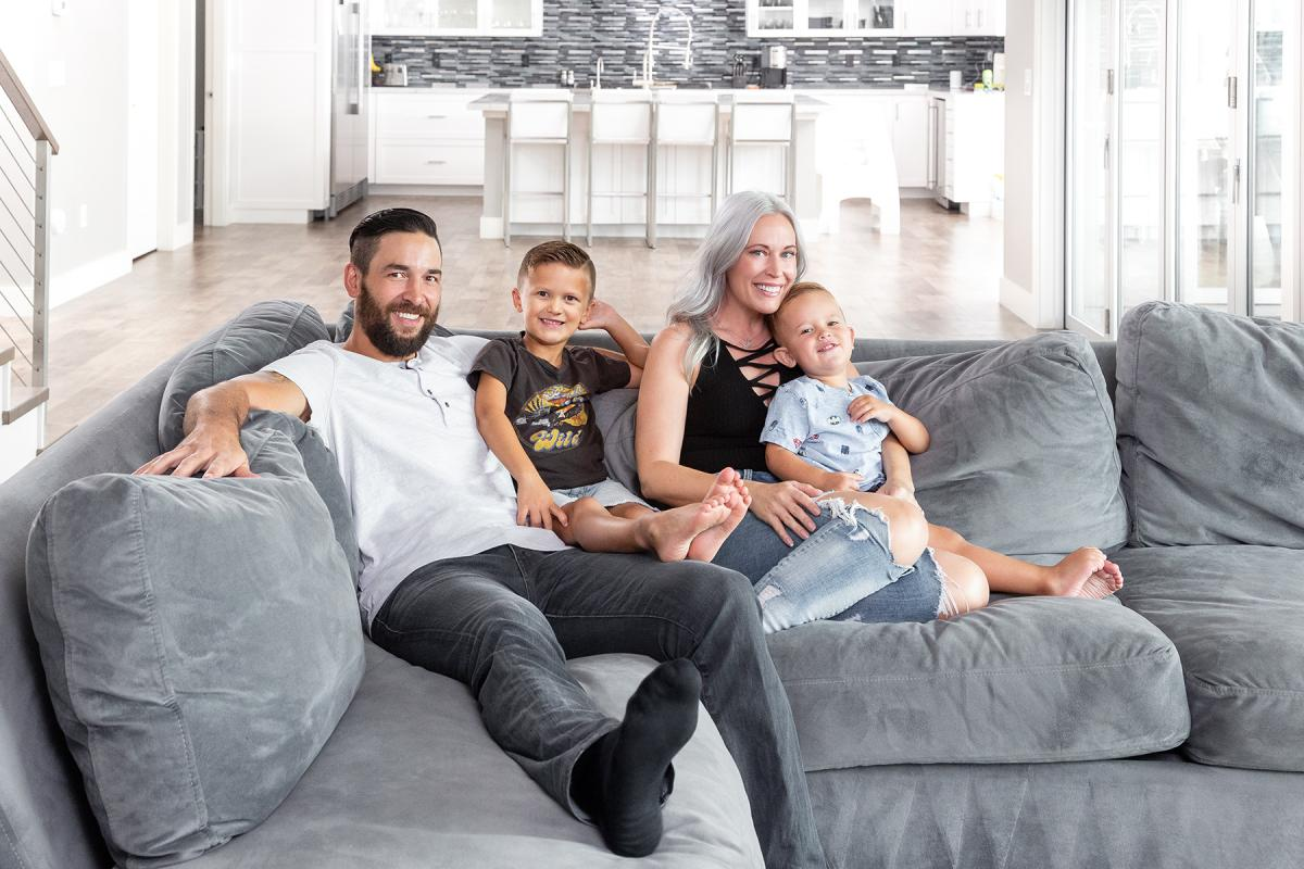 Family and philanthropy: Deryk and Melissa Engelland (with sons Cash, left, and Talon), formed the Vegas Born Heroes Foundation to honor locals who go above and beyond.