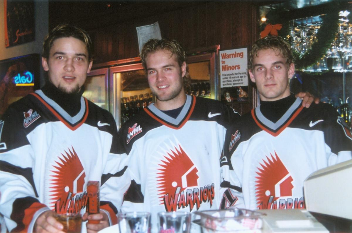 Young Engelland with teammates from the Canadian junior club, the Moose Jaw Warriors